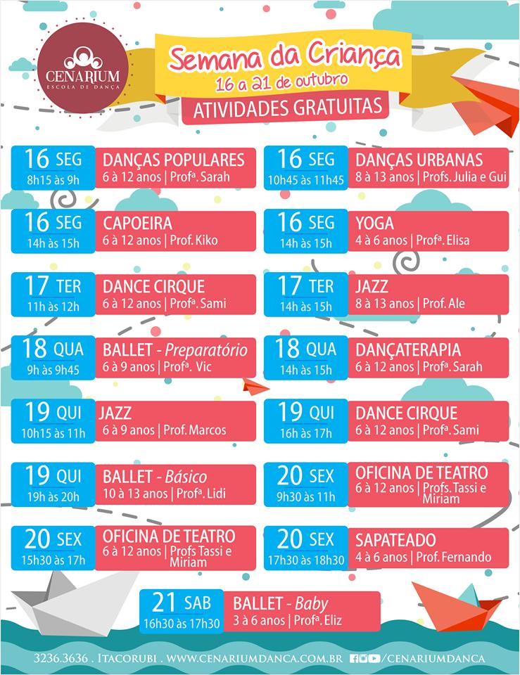 Amado Semana da Criança Cenarium de 16 a 21 de Outubro | ATIVIDADES  JY99